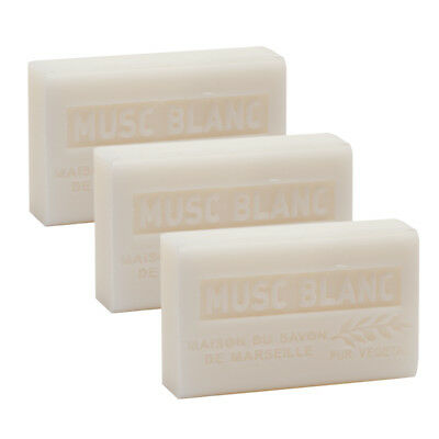 3 x 125g  White Musk French Soaps - with Shea Butter - Savon de Marseille