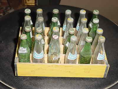 Miniature Fanta , Sprite, & Coca Cola  Bottles In Wooden Crate