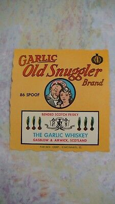 1940's Whiskey Bottle Label Novelty Garlic Old Snuggler Gasblow Airwick Scotland