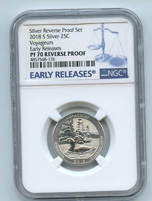 2018 S 25C Silver Reverse Proof Voyageurs Quarter NGC PR70 Early Releases