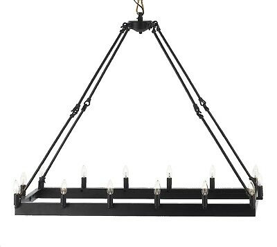 Wrought Iron Vintage Barn Metal Camino Chandelier Industrial Loft Rustic Light