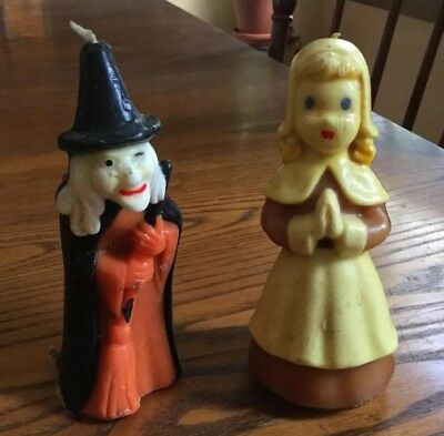 Vintage PILGRIM WOMAN and WITCH Candles By GURLEY