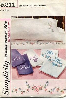 1960's VTG Simplicity Embroidery Transfer Floral Pattern 5211 UNCUT