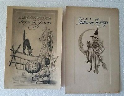 LOT of 2 GIBSON Halloween Postcards WITCH Owl Moon Bow w/JOL Mask BLACK Cat