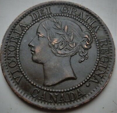 1859 Canada Victoria Large 1 Cent, Highly Detailed