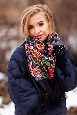 Stylish Black Slavonic, Russian scarf,shawl folk style new collection. SALE