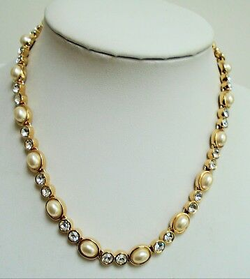 Good quality vintage gold metal, pearl & diamond paste collar necklace + 3
