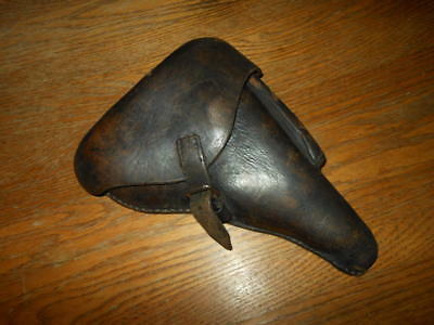 WW1 German Luger P.08 Leather Hard Shell Holster - UNIT MARKED - w/TOOL - NICE