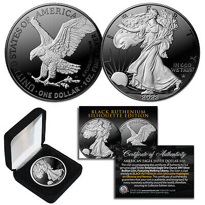 Black RUTHENIUM SILHOUETTE 1 oz .999 Fine Silver 2018 American Eagle with Box