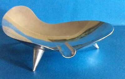 Mid Century Modern Mexican Sterling Silver Ashtray  On Three Legs By P Lopez