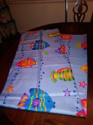 Saturday Knight Shower Curtain for Kids Beach Lake House Colorful Fish 69X72 New
