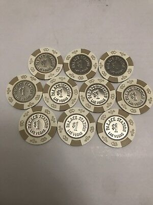 Las Vegas Casino Chip Lot 10 $1 Palace Station Obsolete