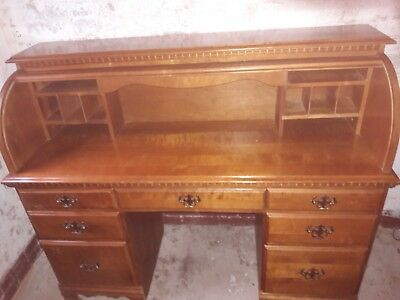 Antique roll top desk bureau