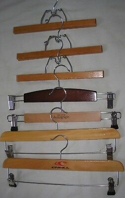 7 x  Assorted Vintage Wooden Clamp Clothes Hanger Skirt Trouser Hangers