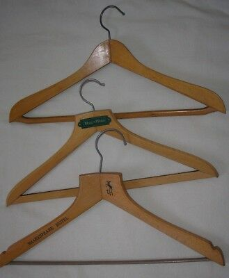 Vintage wooden coathangers assortment bundle x 3