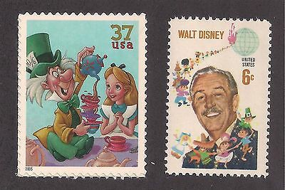 Alice In Wonderland & Mad Hatter + 1968 Walt Disney - 2 Stamps - Mint Condition