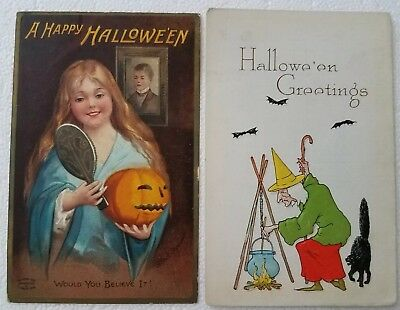 Pair Of Vintage Halloween Postcards Clapsaddle and Pink Of Perfection WITCH Girl