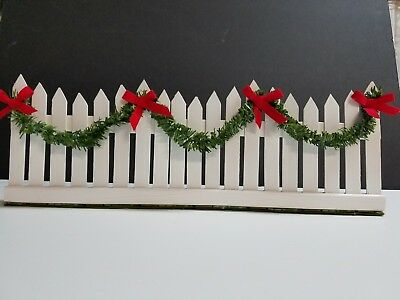Accessory for Byers Choice Carolers White Picket Fence with Garland and Red bows