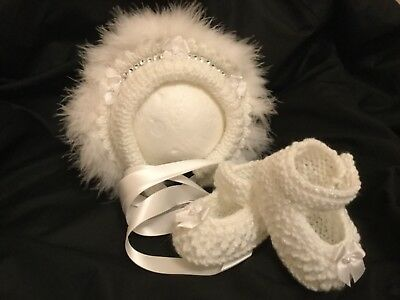 Hand Knitted White Bonnet/Hat/Shoes 0/3 Months