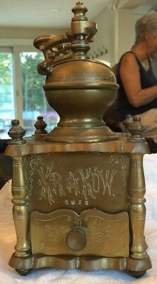 RARE Antique SOLID BRASS COFFEE GRINDER FROM KRAKOW POLAND