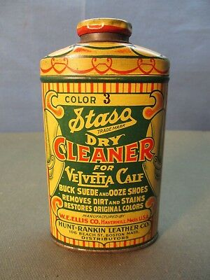 Staso Leather cleaner conditioner for SHOES advertising tin. Hunt Rankin Co.