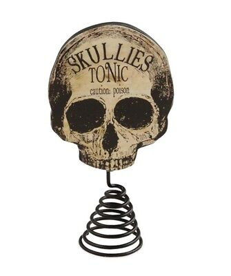 Bethany Lowe Halloween Apothecary Skull Feather Tree Topper Retro Decor Skeleton