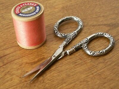 Antique Sterling Silver Small Embroidery Scissors Cut Beautifully Germany