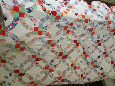 "Wedding Ring Quilt Top, Has Been Bound And Used For A Spread......92"" X 76"""