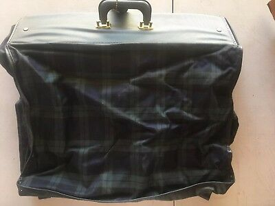 RARE Vintage Plaid VINYL Hanging GARMENT BAG LUGGAGE • Black/Green