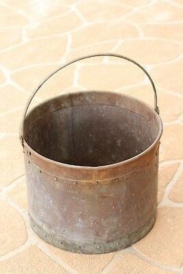 Vintage  copper ash or wood bucket with rivets and handle