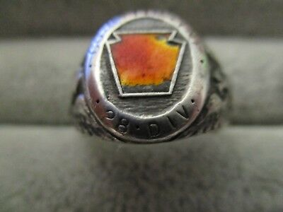 WWll 28th Division 110th Regiment Company G Sterling Ring