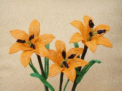 ** French Beaded Flowers ** 3 Handmade Orange Lillies  **