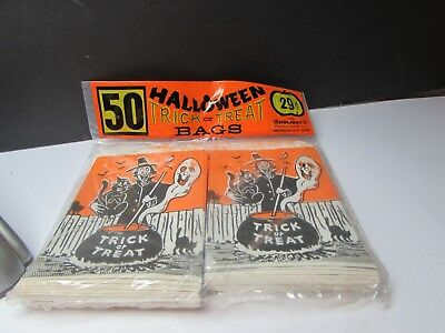 Cool Vintage 1960S Halloween Trick Or Treat Bags Never Opened Pack Of 50