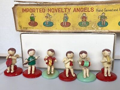 Vintage SHACKMAN Wooden Hand Carved and Hand Painted ANGELS JAPAN w/ Box