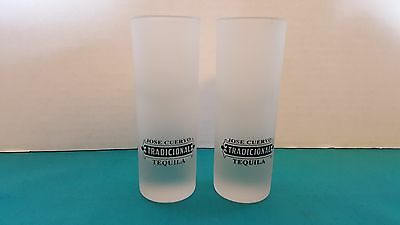 Jose Cuervo Tradicional Tequila Set of 2 Shooter Style Frosted Shot Glasses