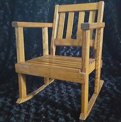 Vtg ARTS & CRAFTS Era TIGER OAK Child-Size Rocking ARMChair Rocker MISSION Style