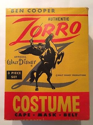 Vintage 60's Disney Zorro Halloween Costume With Mask And Box B Cooper + extra!
