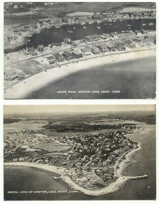 Groton CT Long Point Lot of 2 Aerial View Postcards - Connecticut
