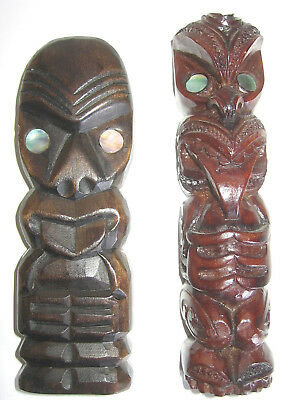 Pair New Zealand Tiki Flat Carved With Paua Shell Eyes