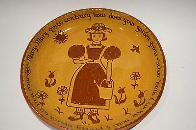 Redware Pottery, American Historical Sgraffito Earthernware, Yellow Red Girl