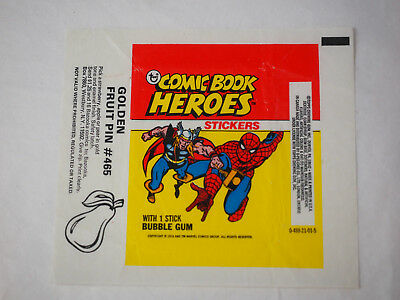 1974 Topps Comic Book Heroes Sticker Spiderman Wax Pack Wrapper