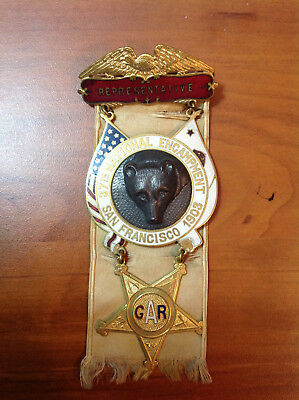 G.A. R. VETERAN REPRESENTATIVE BADGE 37th NATIONAL ENCAMPMENT SAN FRANCISCO 1903