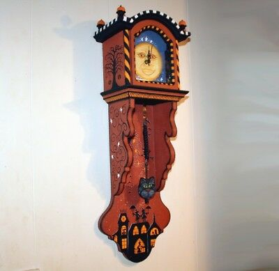 OOAK HALLOWEEN VINTAGE Grandfather WALL CLOCK Handpainted Witch Black Cats Bats
