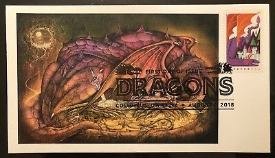 2018 Dragons FDC Purple Dragon Based On Truth, Myth And Legend Laser Cachet