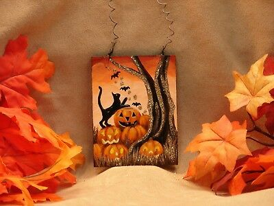 Hand Painted Halloween Wood Ornament Glitter Black Cat Bats Jack O' Lanterns