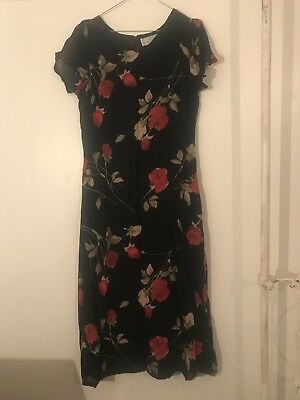 Vintage 90s Black With Red Rose Print Dress, Size 12