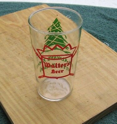 """Vintage Walter's Brewery Eau Claire Wis 4-3/4"""" 10 oz Christmas Xmas Beer Glass j"""