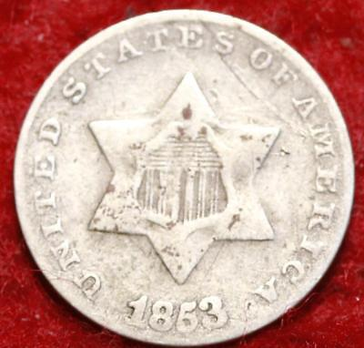 1853 Type I Philadelphia Mint Silver Three Cent Coin
