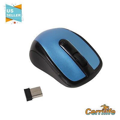 Brand New Blue Wireless Mouse 2.4GHZ + USB for Receiver Laptop