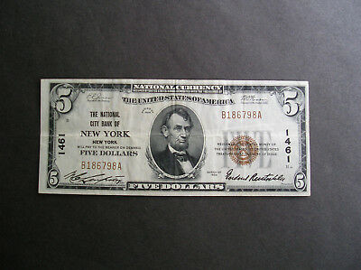Series 1929 $5.00 The National City Bank of New York in Very Fine Condition